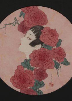 病める薔薇Ⅰ (Sick Roses I ) / acrylic on paper / Φ29.3cm / 2020